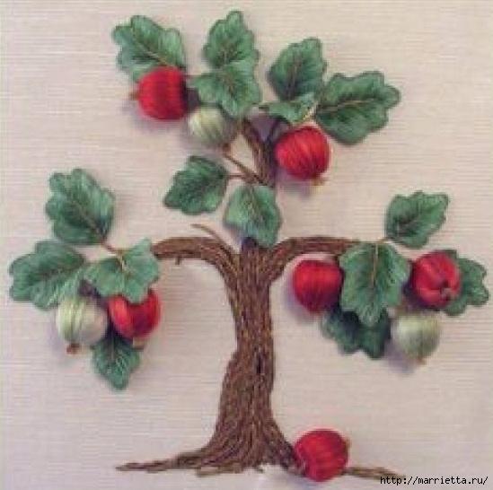 Цветы объемной вышивкой гладью. Красивые работы (62) (549x546, 155Kb)