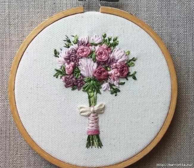 Цветы объемной вышивкой гладью. Красивые работы (66) (652x567, 333Kb)