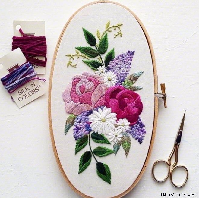 Цветы объемной вышивкой гладью. Красивые работы (68) (660x657, 284Kb)