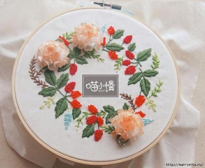 Цветы объемной вышивкой гладью. Красивые работы (70) (663x544, 203Kb)