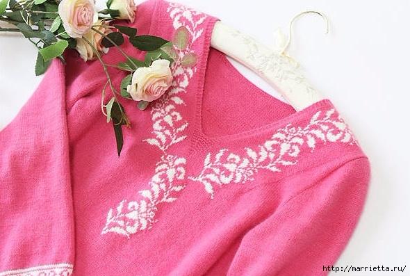 Платье спицами с жаккардовой каймой (5) (590x397, 187Kb)