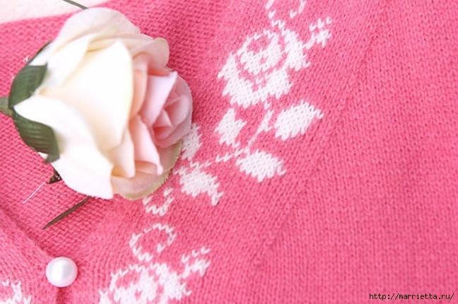 Платье спицами с жаккардовой каймой (23) (648x430, 204Kb)