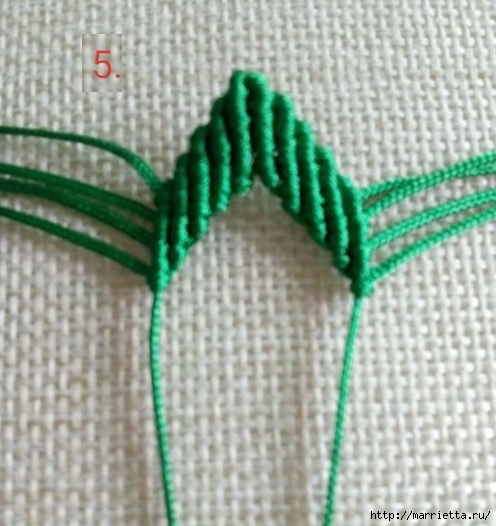 Плетение красивых листиков в технике макраме (7) (496x526, 153Kb)