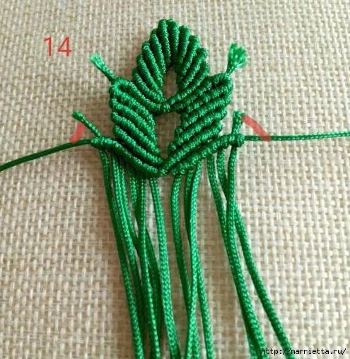 Плетение красивых листиков в технике макраме (9) (495x508, 204Kb)