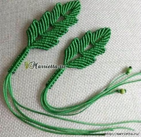 Плетение красивых листиков в технике макраме (19) (491x475, 192Kb)