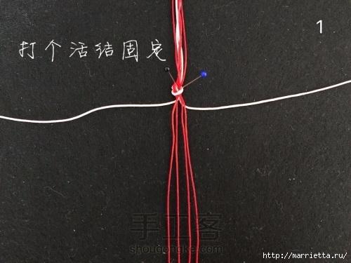Плетение браслетика с цветочками в технике макраме (2) (500x375, 115Kb)