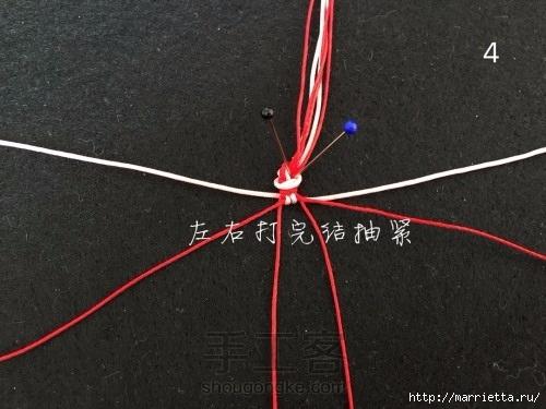 Плетение браслетика с цветочками в технике макраме (4) (500x375, 118Kb)