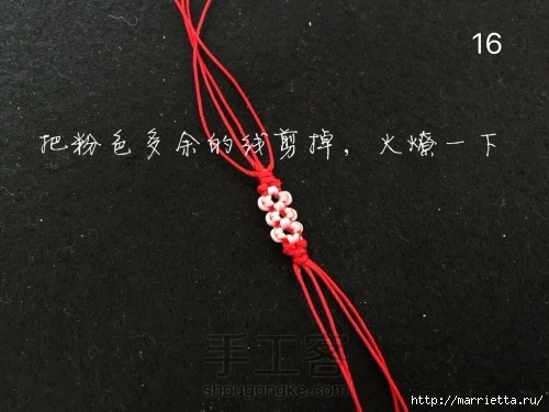Плетение браслетика с цветочками в технике макраме (16) (500x375, 113Kb)