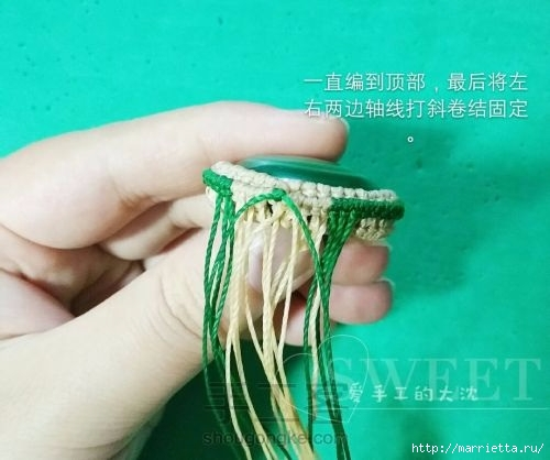 Оплетаем кабашон для создания кулона (17) (500x418, 102Kb)