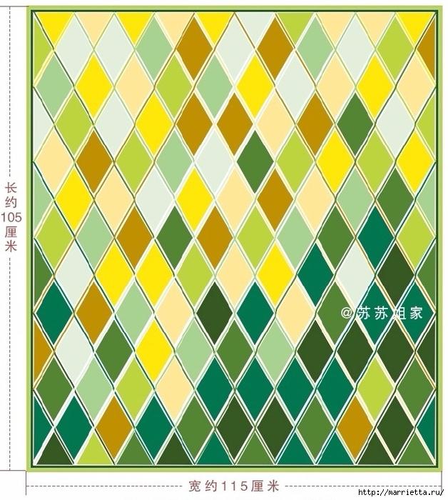 Плед крючком из разноцветных ромбов. Схемы вязания (4) (628x700, 352Kb)