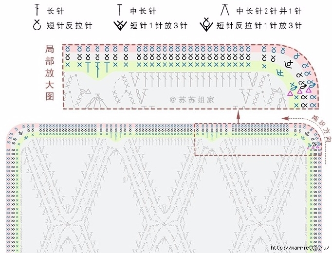 Плед крючком из разноцветных ромбов. Схемы вязания (8) (682x520, 249Kb)