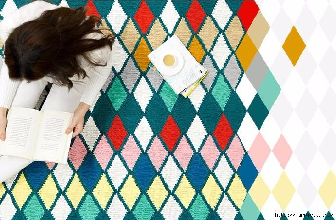 Плед крючком из разноцветных ромбов. Схемы вязания (15) (690x453, 283Kb)