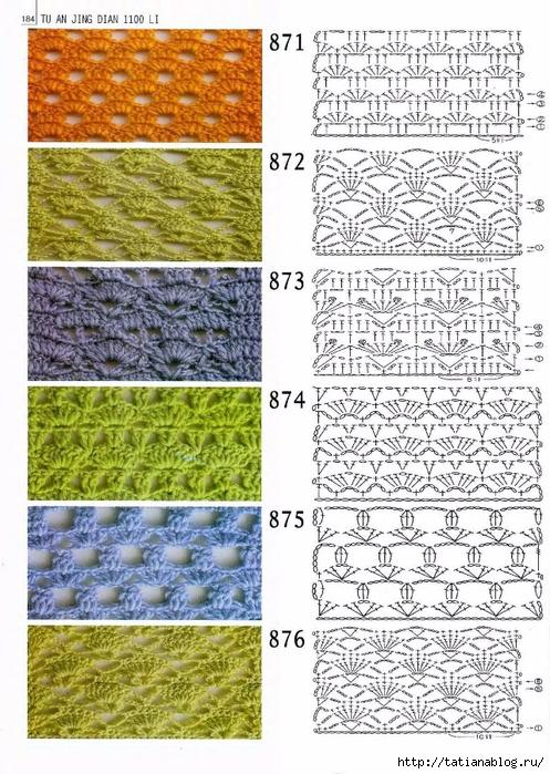 Вязание крючком схемы узоров полотен 857