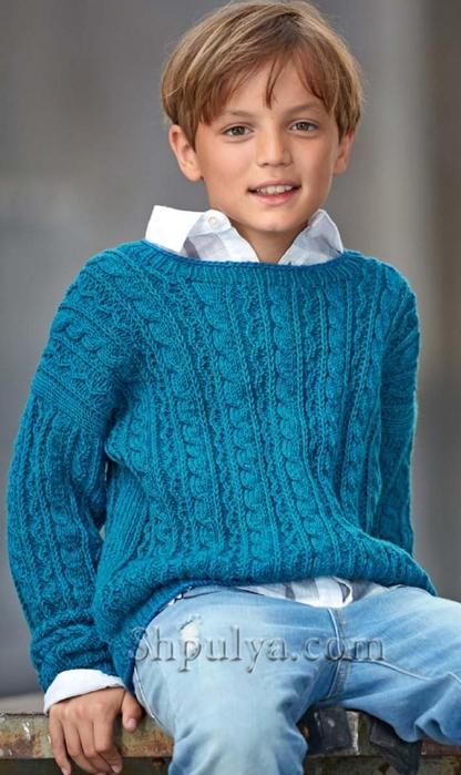 """Пуловер с """"косами"""" для мальчика, пуловер для мальчика спицами описание схема, детский пуловер спицами описание схема, пуловер для мальчика 4-8 лет связать, вязание для детей с описанием, вязание для мальчиков, пуловер для мальчика спицами описание схема, свитер для мальчика спицами, жаккардовый пуловер спицами, пряжа для вязания спицами, купить пряжу, сайт о вязании спицами, Шпуля сайт о вязании, /5557795_1908 (416x700, 221Kb)"""