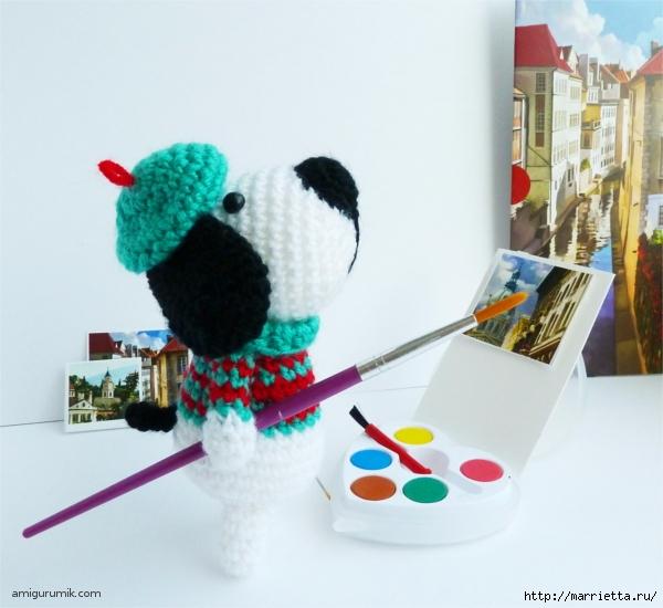 Вяжем игрушку к Новому году. Собачка - художник амигуруми (1) (600x550, 200Kb)