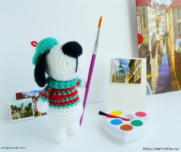 Вяжем игрушку к Новому году. Собачка - художник амигуруми (3) (600x504, 188Kb)
