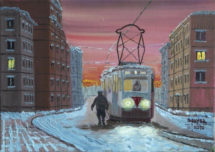 2. «Первый трамвай» — масло, холст. Олег Рауба (700x495, 428Kb)