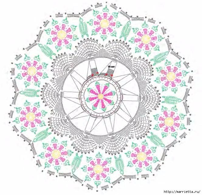 Красивая круглая салфетка с розочками (1) (665x643, 319Kb)