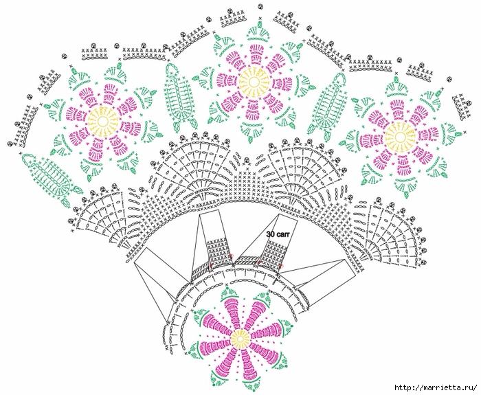 Красивая круглая салфетка с розочками (5) (700x575, 279Kb)