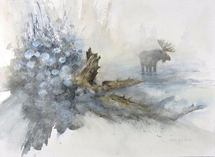 Moose & Blue Flowers (700x511, 287Kb)