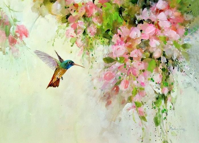 Hummingbird & Pink Flowers (700x502, 406Kb)