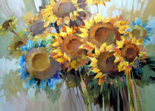 summer blues. flower paintings (656x471, 122Kb)