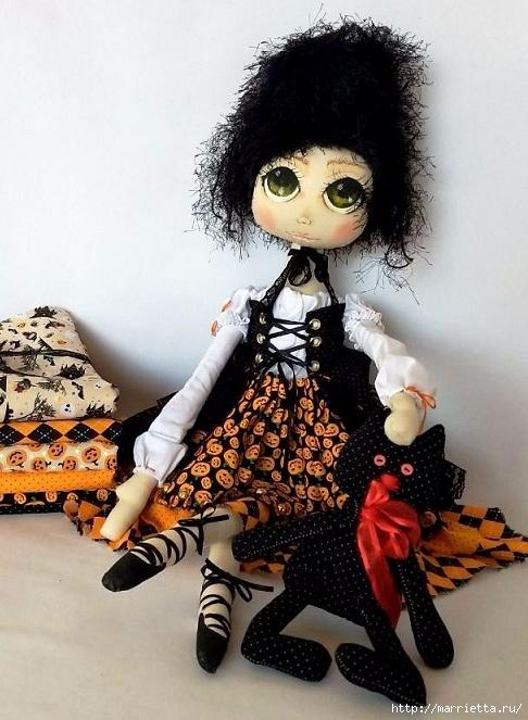 Выкройка куклы Ведьмочки с черной кошкой (5) (486x663, 224Kb)