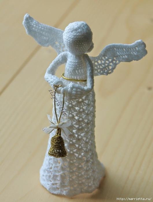 Вязаная крючком ДАМА - ангел с колокольчиком (4) (529x700, 199Kb)