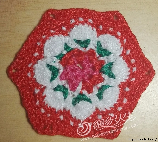 Крючком. Цветочный мотив с розой (1) (657x588, 310Kb)