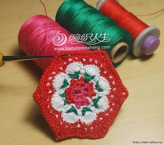 Крючком. Цветочный мотив с розой (5) (657x579, 286Kb)