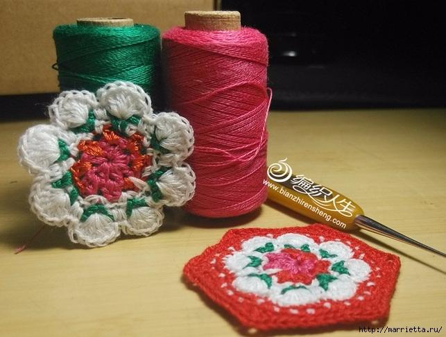 Крючком. Цветочный мотив с розой (7) (643x486, 209Kb)