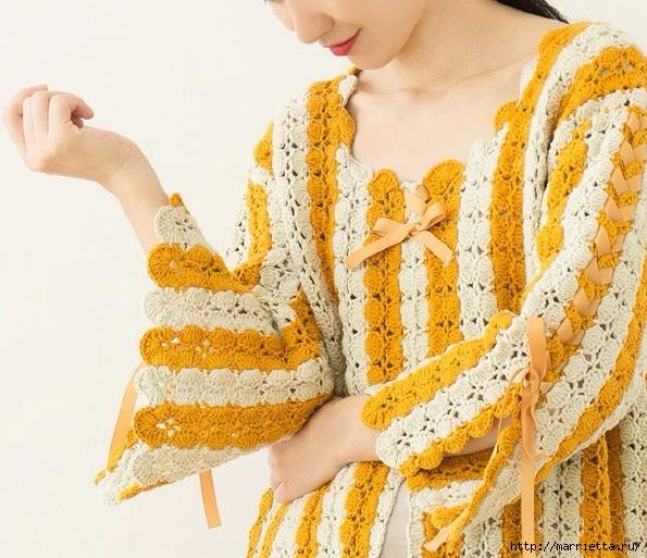 Крючком. Вязаное полосатое пальто в стиле ретро (1) (595x513, 251Kb)