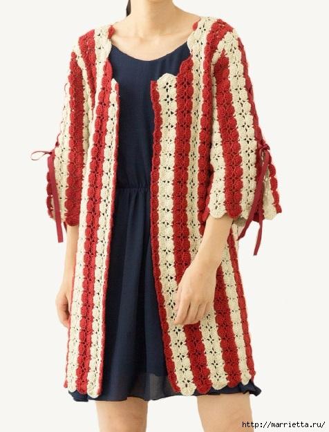 Крючком. Вязаное полосатое пальто в стиле ретро (8) (476x625, 185Kb)