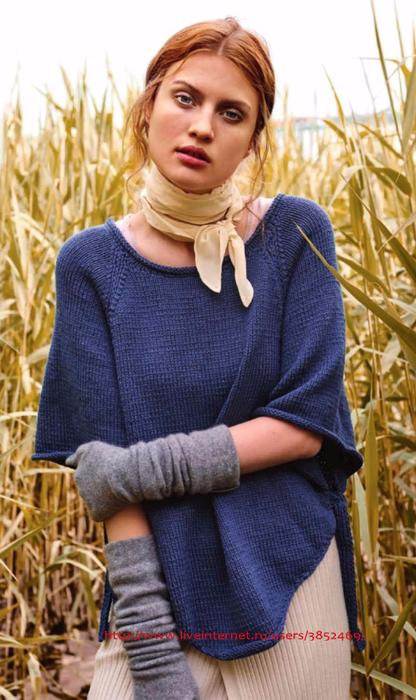 Синий пуловер-пончо 2 (416x700, 357Kb)