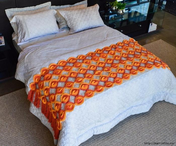 Крючком. Интересная накидка для кровати (2) (700x582, 368Kb)