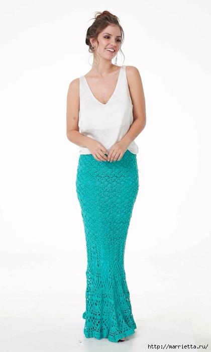 Длинная ажурная юбка крючком. Схема узора (2) (420x700, 110Kb)