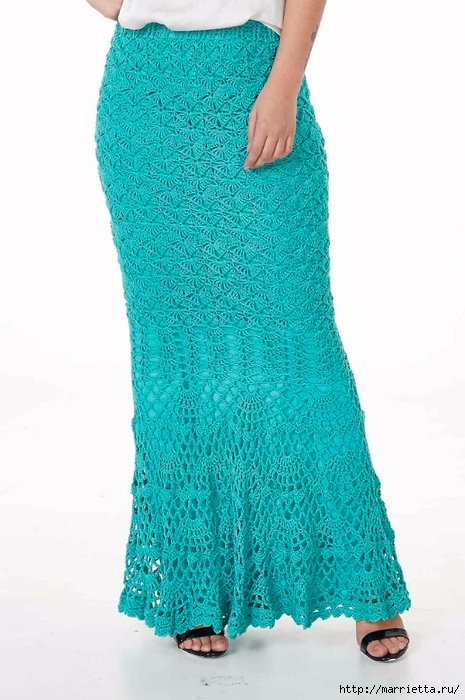 Длинная ажурная юбка крючком. Схема узора (4) (465x700, 224Kb)