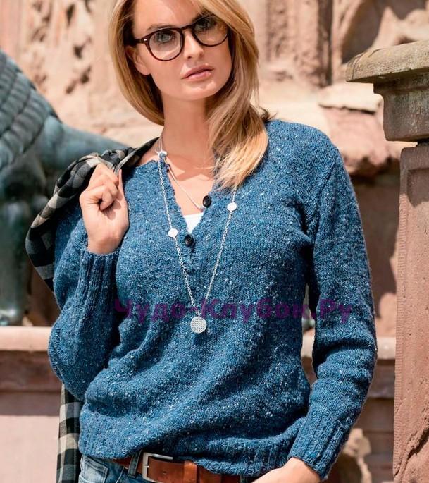 Пуловер  с удлиненной застежкой поло 1386 (609x685, 155Kb)