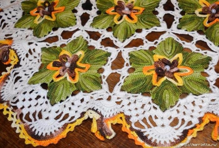 Декоративная салфетка крючком с цветами (4) (700x473, 353Kb)