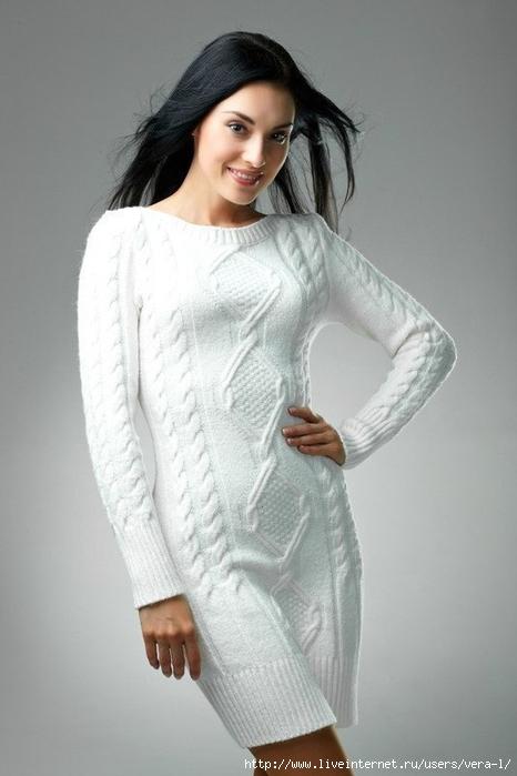 Вязание спицами туники платья зима 100
