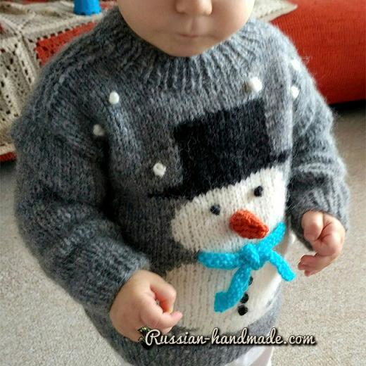 Детский пуловер со снеговиком (4) (520x520, 306Kb)
