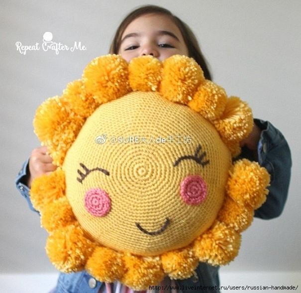 Крючком. Детская подушка «Солнышко» (1) (605x588, 221Kb)