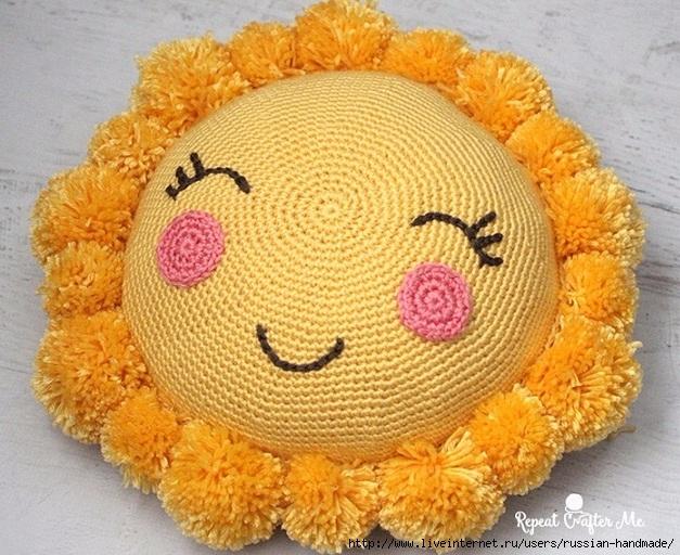 Крючком. Детская подушка «Солнышко» (7) (627x512, 275Kb)