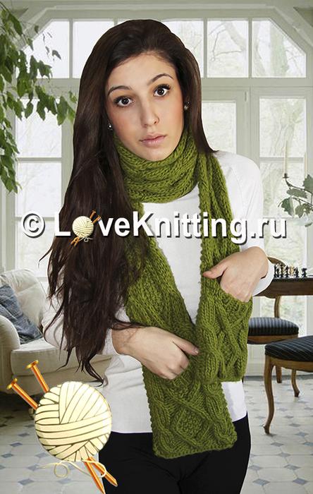 05 Автор Зелен шарф с карманами МТ2 (444x700, 319Kb)