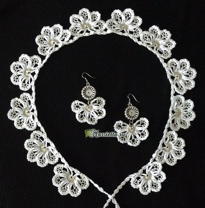 Сережки и ожерелье крючком. Схемы вязания (3) (688x700, 458Kb)