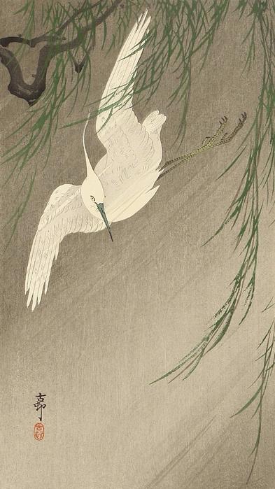 Egret in Storm (393x700, 280Kb)