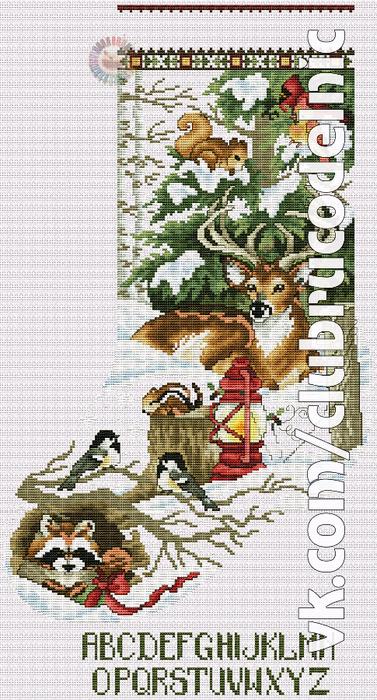 Winter Woodland Stocking (377x700, 432Kb)