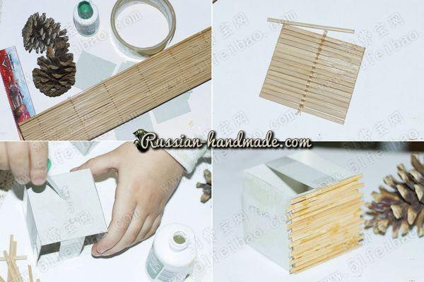 Домик из картона, бамбуковой салфетки и шишек (4) (600x400, 167Kb)