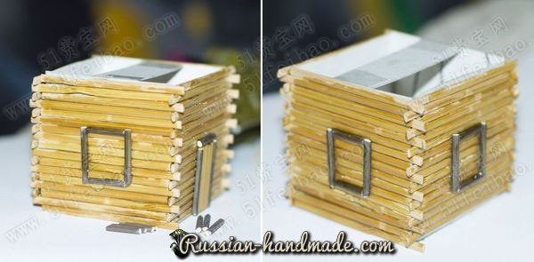 Домик из картона, бамбуковой салфетки и шишек (6) (600x295, 145Kb)