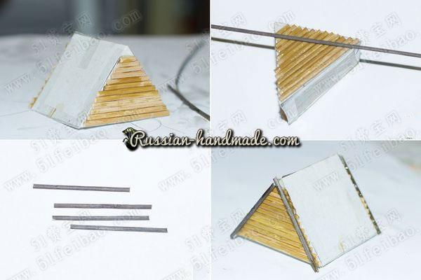 Домик из картона, бамбуковой салфетки и шишек (8) (600x400, 118Kb)